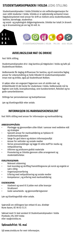 Stillingsannonse kantine/marked